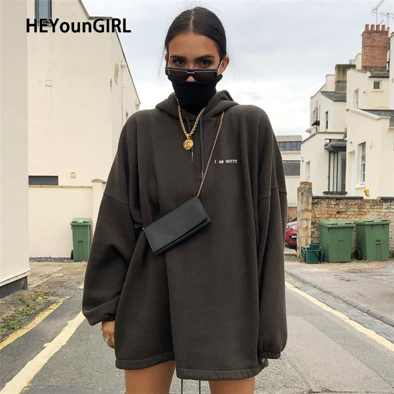 HEYounGIRL Fake 2 Piece Turtleneck Oversized Hoodies Women Casual Loose Sweatshirt Ladies Autumn Long Sleeve Hooded Pullover