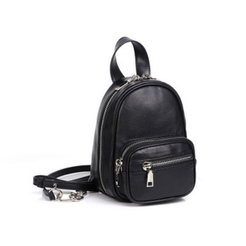 Genuine Leather Women Bag 2020 new Arrival chain bag  small Black Mini backpack Single Shoulder Handbag