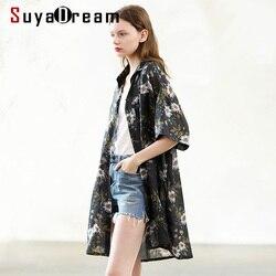 SuyaDream Women Long Blouse 100%Ramie Half Sleeved Turn Down Collar Black Office Blouses 2020 Spring Summer Shirt