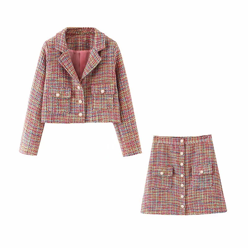 Autumn And Winter New Women's Suits Casual Temperament Long Sleeve Short Ladies Jacket Small Suit Slim High Waist Skirt Suit