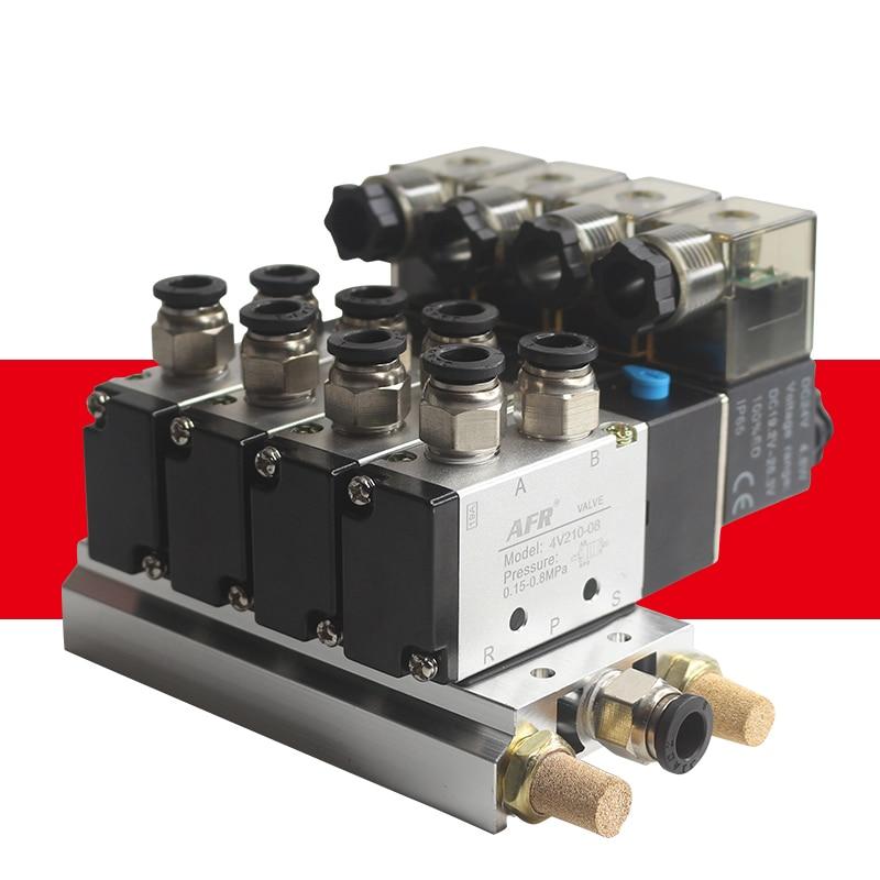 4V210-08 DC24V 12V 2 Positions 5 Way Quadruple Solenoid Valve Aluminum Base Fitting Mufflers Set 3 4 5 6 Stations AC220V AC110V()