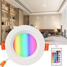 Foco redondo RGBW, lámpara empotrada LED de 12V, 5W, 10W, 15W, Control remoto, 16 colores, 110V, 240V, luz ambiental para interiores, fiesta, KTV