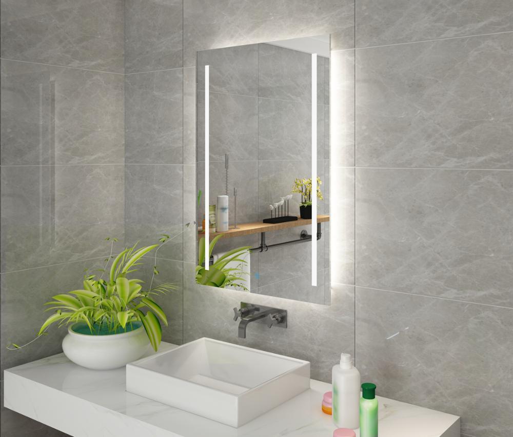 US $195.0 |DIYHD Wand Halterung Led Beleuchtet Badezimmer Spiegel Eitelkeit  Defogger 2 Vertikale Lichter Rechteckigen Touch Licht Spiegel-in ...