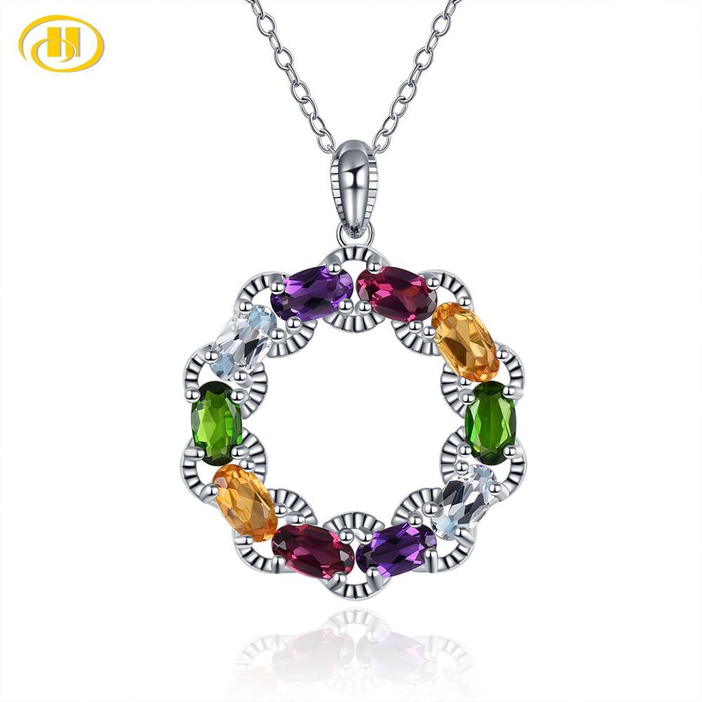 Hutang femmes infini pendentif couleur naturelle Citrine grenat pierre précieuse solide 925 Sterling argent chaîne Fine bijoux nouveauté