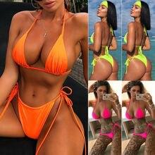 Triangle Swimsuit Bikini-Set Padded Bandage Orange Neon Pure-Swimwear Sexy Push-Up Bra