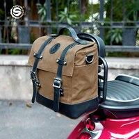 Bolsa de ciclismo Retro para motocicleta, bolso de hombro con cola lateral para locomotora, accesorios multifuncionales para conducción de Moto al aire libre, color marrón