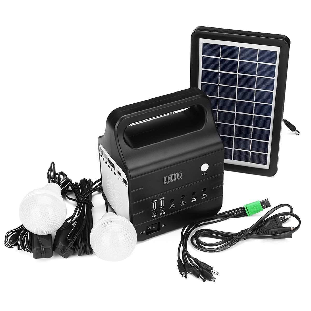 25W Solar Generator With Solar Power Panel 2xLED Bulb Solar-charging FM Support Stereo Speaker Multi-functional Generators