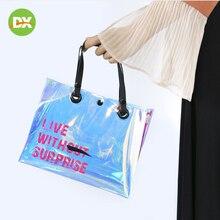 2019New Transparent Handbag Laser Tpu Button Waterproof Travel Storage Bag Environmentally Friendly Fashion Organizer Beauty Kit