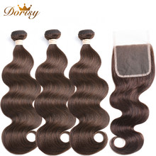 Brown Bundles with Closure Body Wave Human Hair With Closure Brazilian Human Hair Bundles With Closure Remy Hair Extensions(China)