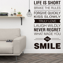 Inspiring Wall Decals Quotes Life is Short Typography Living Room Vinyl Sticker Removable Art Decoration Bedroom Mural Y68