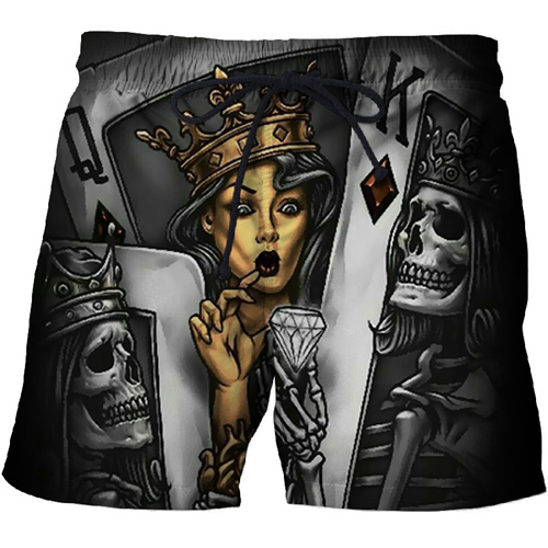 Mens clothing 2021 Male Casual 3D Printed Crown Diamond skull Beach Shorts black Board Shorts Quick Dry Shorts Funny Swimsuit