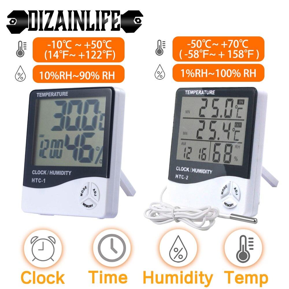 ЖК-дисплей электронные цифровые Температура измеритель влажности термометром и гигрометром декоративные часы для дома и улицы часы/Погодн...