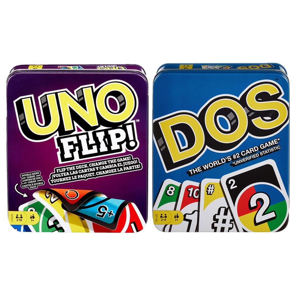 Mattel Игра UNO : Flip & Dos Tin забавная настольная игра, многопользовательская игра, карточные игры