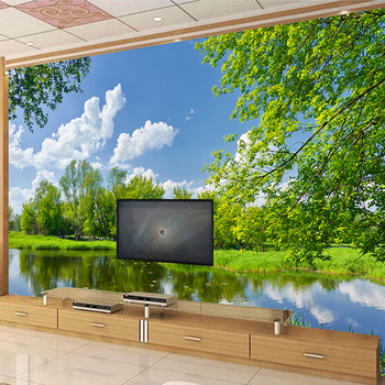 Custom 3D Mural Wallpaper Park Lake Green Tree Natural Scenery Photo Background Wall Painting Living Room Sofa Bedroom Fresco custom 3d photo wallpaper green forest scenery large wall painting living room bedroom background wall mural papel de parede 3d