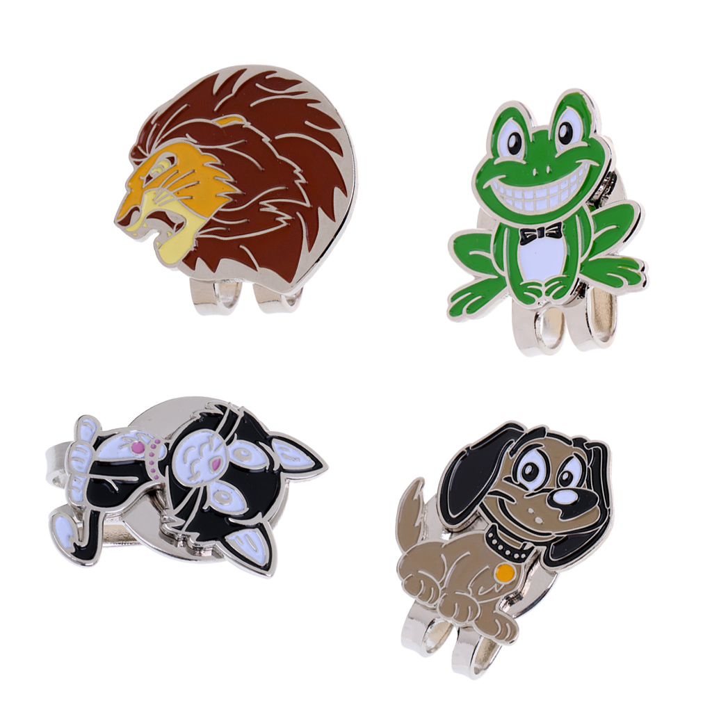 4 Pieces Funny Cartoon Animal Alloy Golf Ball Marker With Magnetic Hat Clip