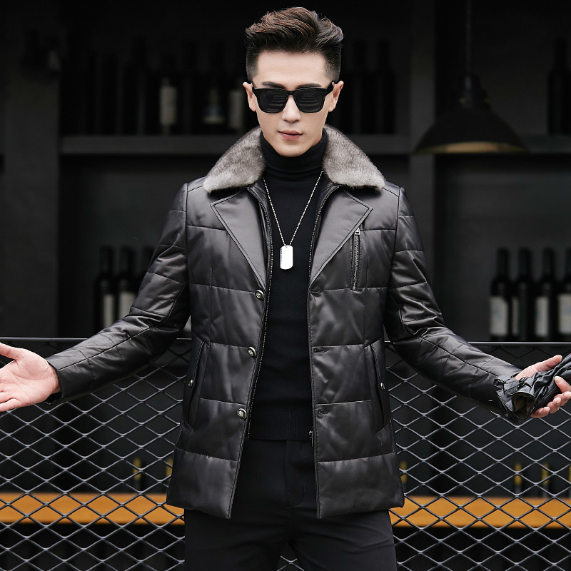 Genuine Leather Jacket Men Sheepskin Coat Real Mink Fur Collar Warm Duck Down Coat For Men Jaqueta Couro YZF89803 YY416