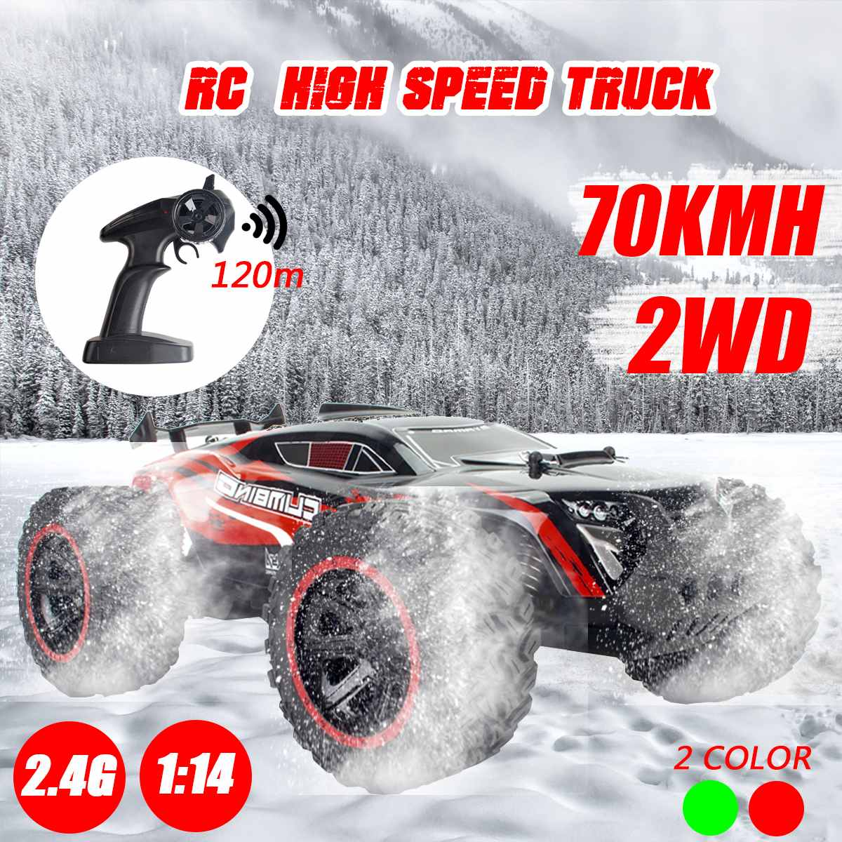 1:14 70Km/h 2WD RC Remote Control Off Road Racing Cars Vehicle 2.4Ghz Crawlers Electric Monster Truck RC Car