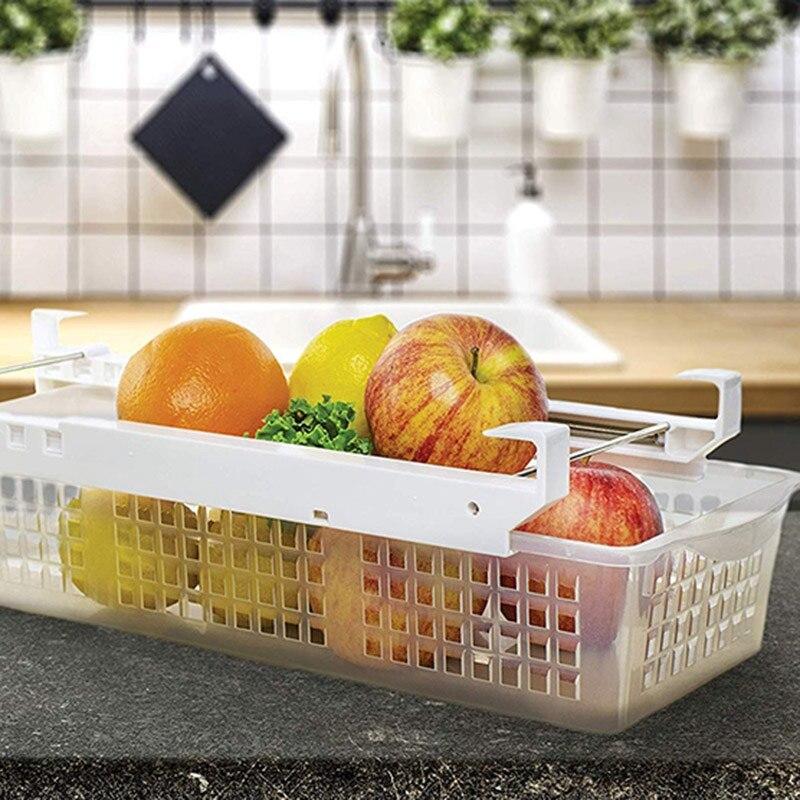 Fridge Organizer Drawer  Refrigerator Pull Out Bin Adjustable  Installs Under Shelf Fits Most Fridges  Plastic|Bottles Jars & Boxes| |  - title=