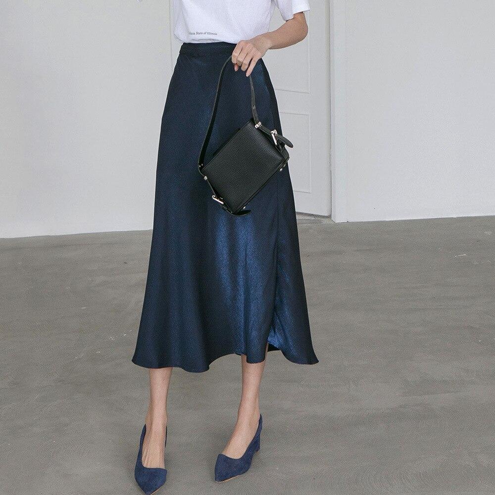 2020 Vintage Women A-Line Skirt High Waist Long Skirt Pure Color Women Spring Elegant Skirts Saia Faldas Jupe Femme