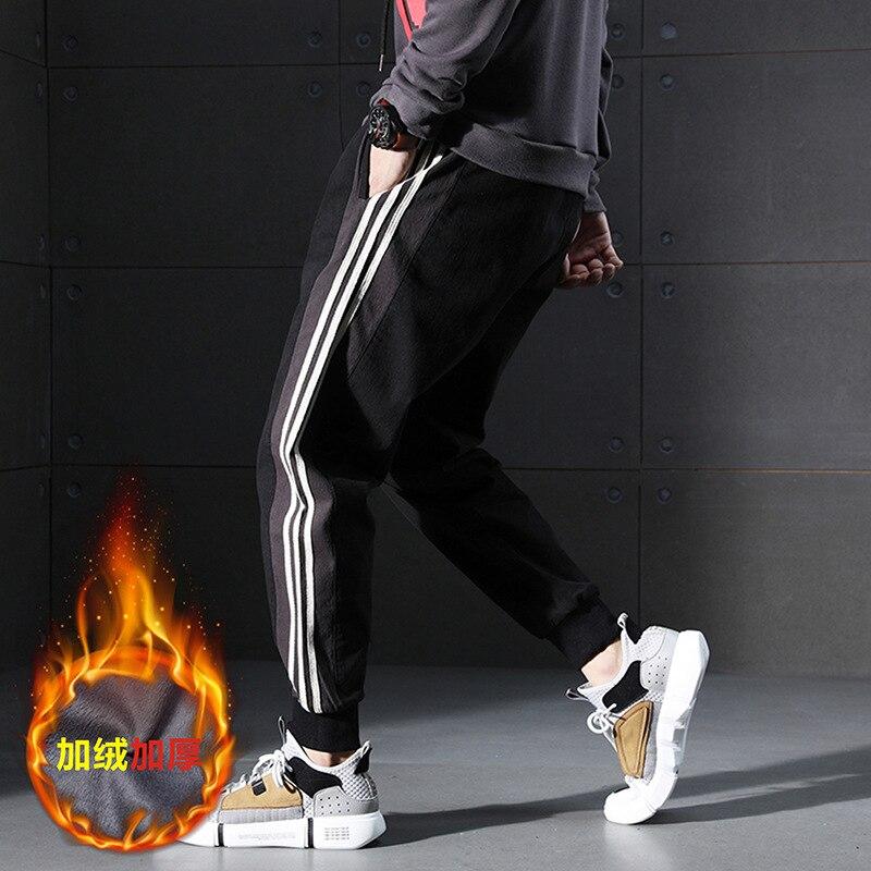 Trend Pants With Velvet Sub-Men's Trend Skinny Casual Pants Winter Warm Harem Pants Men's Fashion Three Bars 98% Cotton