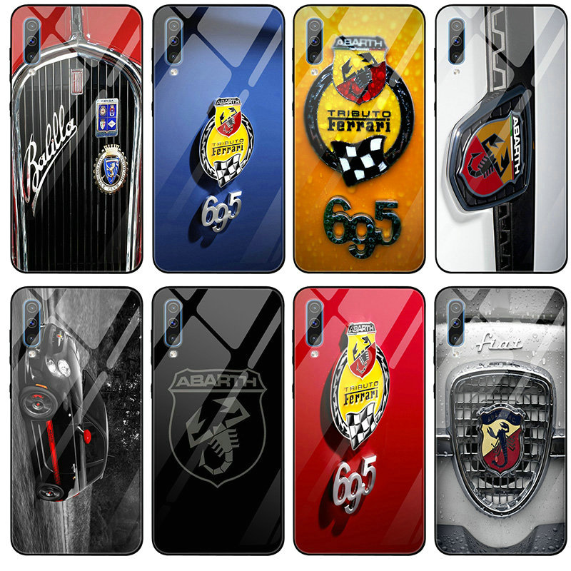 Tempered Glass <font><b>Mobile</b></font> <font><b>Phone</b></font> <font><b>Cases</b></font> for <font><b>Samsung</b></font> Galaxy <font><b>A6</b></font> A8 A9 A10 A20 A30 A40 A50 A70 A80 A90 S8 S9 S10 Plus Fiat Abarth Logo image