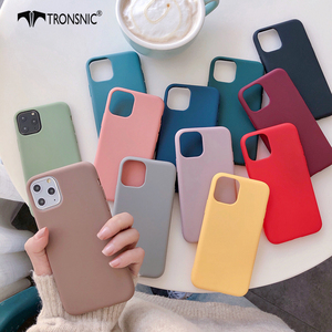 Texture Solid Green Phone Case for iPhone 11 Pro Max XR X XS MAX Matte Gray Yellow Soft Luxury Case for iPhone 6s 7 8 Plus Cover(China)