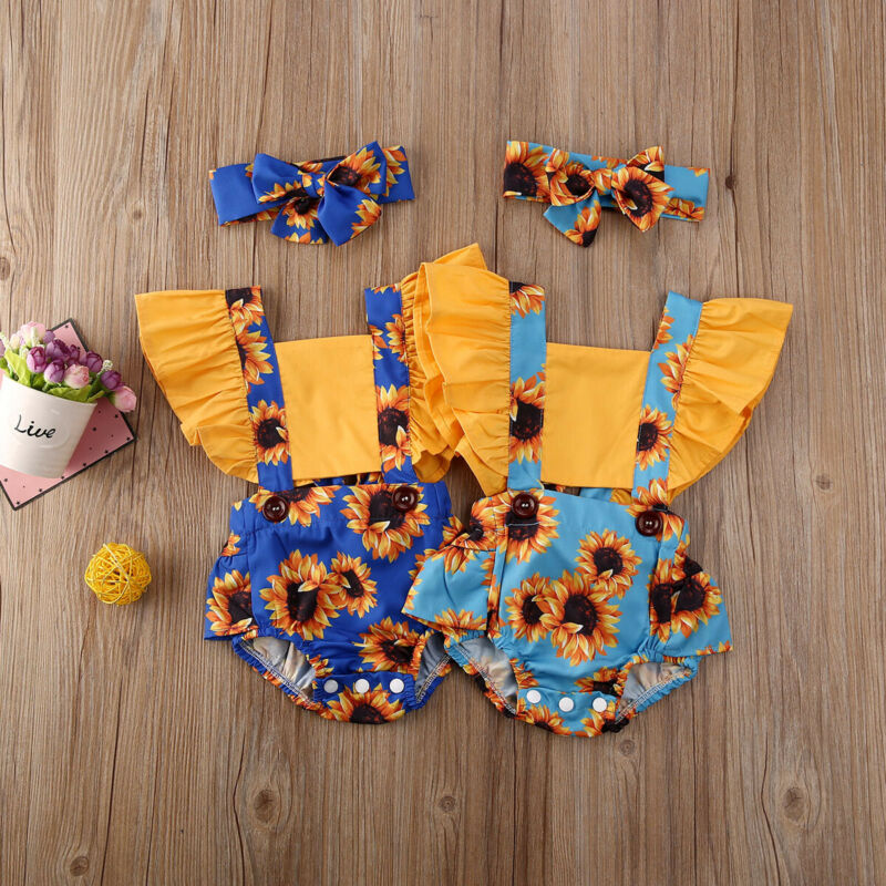 2pcs Autumn Cotton Clothes Set Baby Kid Girl Solid Color Rompers Headband Lot