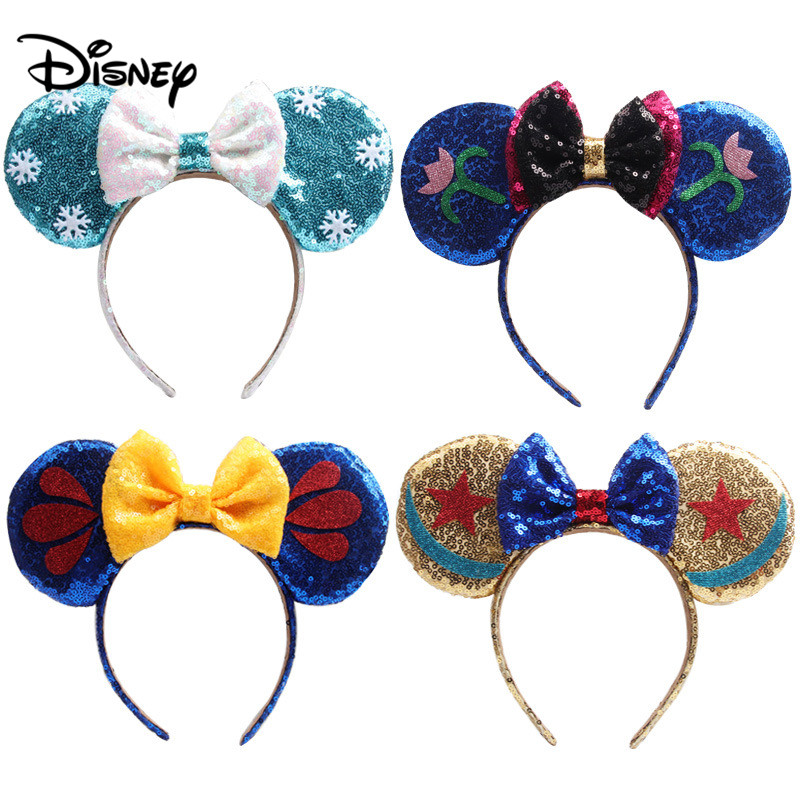 Disney Lovely Girls Bows Minnie Mickey Headband Ears Hair-Accessories Kid Women Head-Accessories Headdress Head Band Party