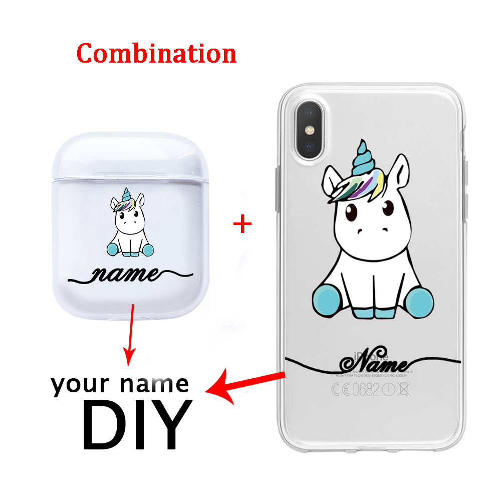 Cute Cartoon Unicorn Soft Earphone Case For Apple Clear Airpods Cases DIY Name Customized Combination of Airpods and Phone Case in Fitted Cases from Cellphones Telecommunications