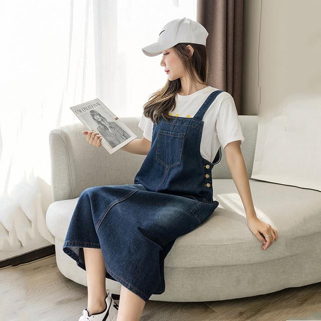 2021 New Korean Fashion Long Denim Sundress Vintage Jeans Dress Women Suspenders Dresses Female Overalls Robe Femme 1