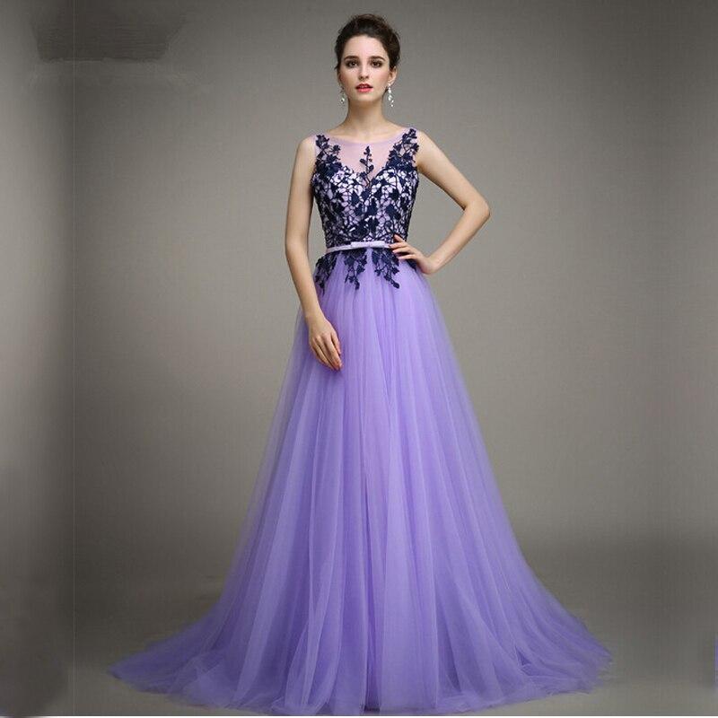 A Line Bateau Sleeveless Appliques Tulle Lavender Party Gown Vestido De Festa Cheap Long Elegant Prom 2018 Bridesmaid Dresses