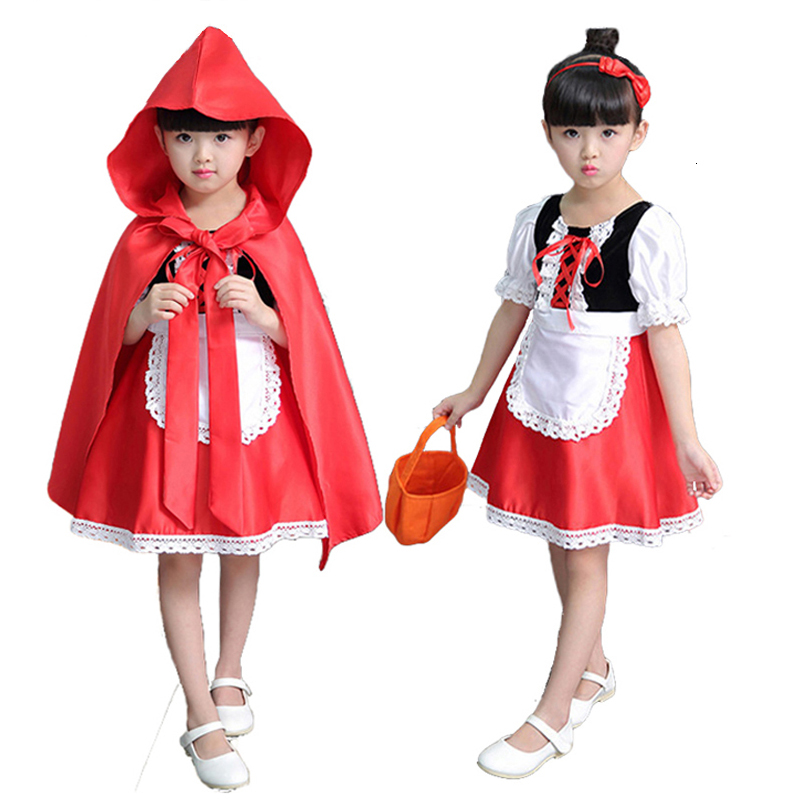 Little Red Riding Hood Dress Christmas Cosplay Costumes for Girls with Cloak,Headband,Bag 2-12Years