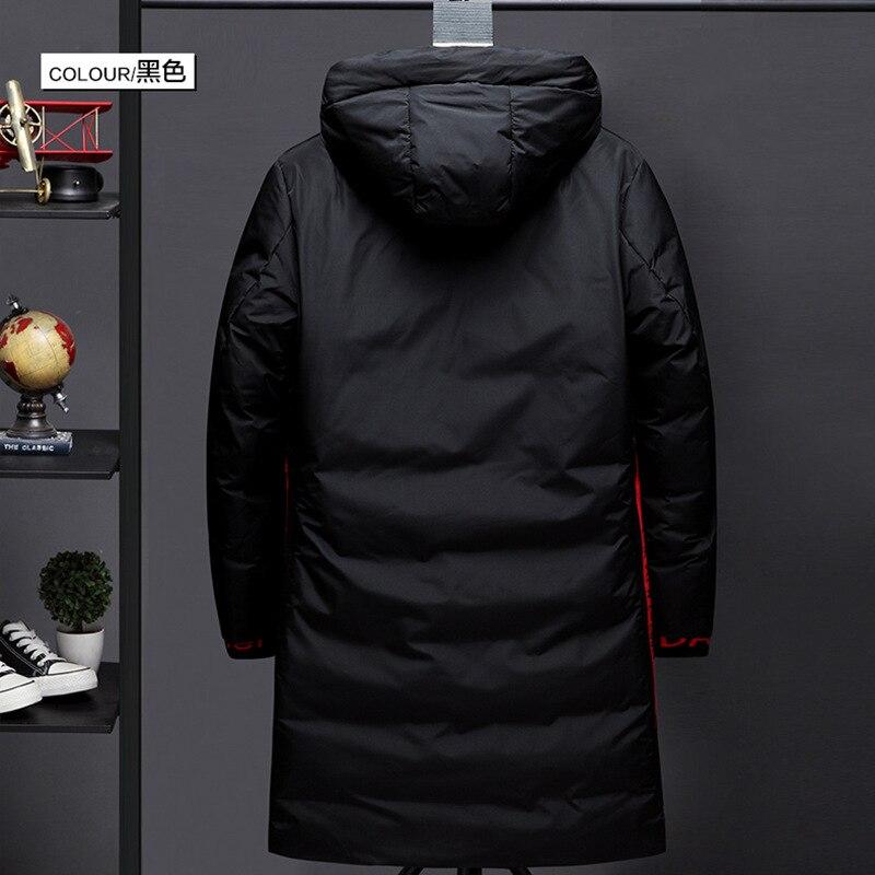 Hommes hiver pardessus mi long à capuche manteau hommes vêtements de style coréen tendance beau noir et blanc avec motif épais chaud vers le bas J - 3