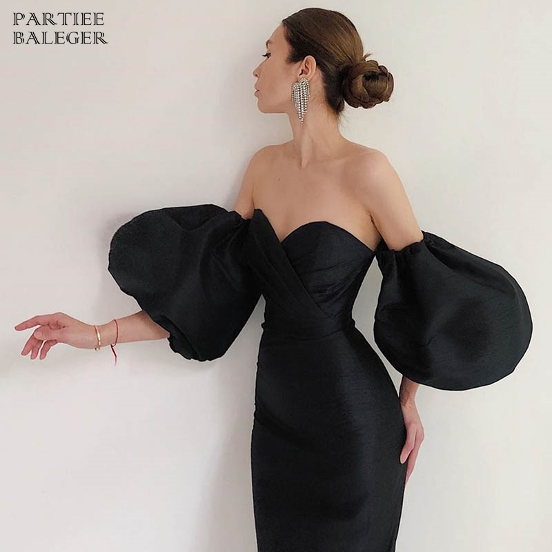PB Free Shipping New Trendy Puff Sleeves Design Sexy Off Shoulder Backless Celebrity Party Club Midi Dress