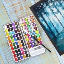 Pintura portátil a aquarela 90 cores, conjunto aquarela cor sólida com pérola