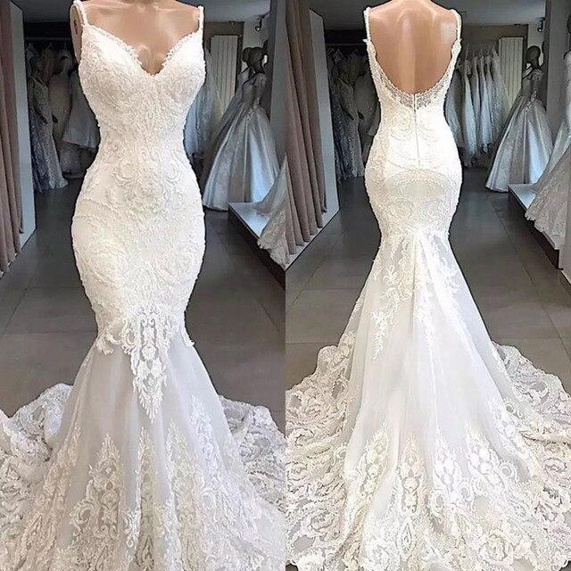 Spaghetti Strap Mermaid Dress Appliques Lace V-Neckline Wedding Dresses With Sweep Train Bridal Gown Formal robes de mariée 2020 1