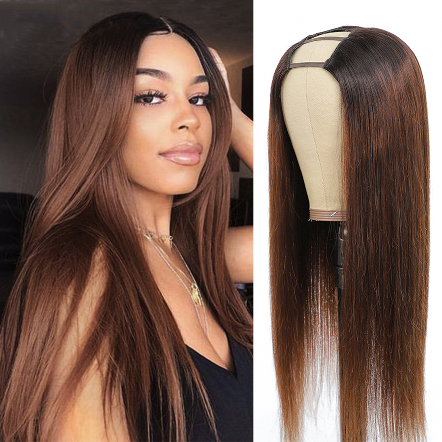 Парики из коричневых человеческих волос с эффектом омбре, парики из 180% бразильских неповрежденных волос, прямые светлые парики с эффектом о...