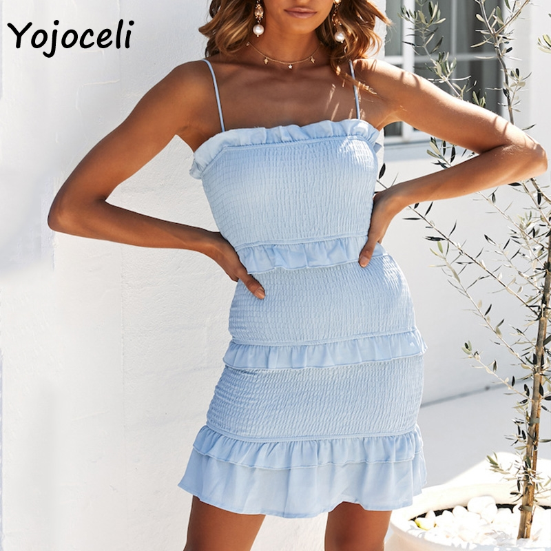 Yojoceli Women Shirred Ruffle Dress Women Bodycon Slim Sundress Boho Beach Day Dress Spring Summer