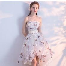 Высокие и низкие вечерние платья с бабочками и 3D цветочным принтом, вечерние платья для выпускного вечера с поясом без бретелек размера плюс, Robe De Soiree