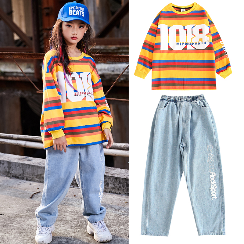 New Hip Hop Dance Costumes Long Sleeved Striped Sweater Pants Street Clothes Child Dance Jazz Performance Stage Outfits DQS3496
