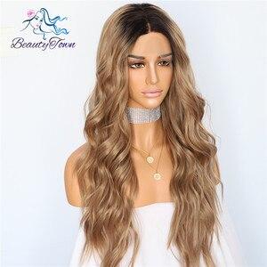 Image 3 - BeautyTown perruque en soie avec racines foncées ombré marron naturel ondulé, maquillage quotidien de reine, perruque synthétique présente pour femmes, mariage
