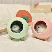 Kitty veilleuse crea tive fille cadeau chambre chevet sommeil alimentation lampe charge LED lumière ambiante
