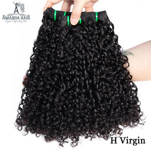 Amanda Double Drawn Pixie Curly Funmi Hair Bundles Unprocessed Human Virgin Hair Brazilian Hair Weave Bundles Full End