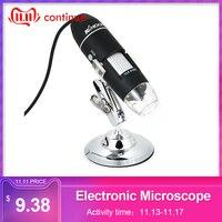 KKMOON microscopio electrónico 500X 1000X 1600X interfaz Digital USB microscopio electrónico lupa 8 LEDs + soporte de Metal