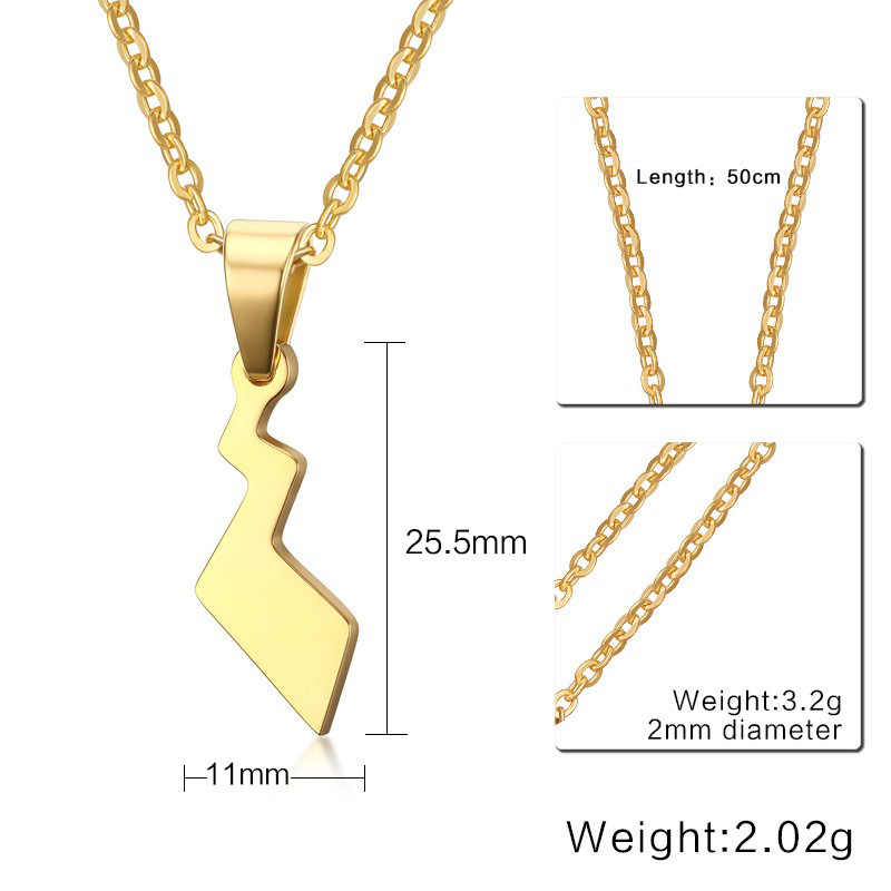 Stal nierdzewna kieszonkowy potwór ogon błyskawica kształt naszyjnik mężczyźni kobiety 2019 New Fashion Chain naszyjniki na prezenty