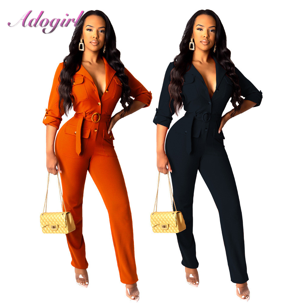 Casual Solid Long Sleeve Turn-down Collar Skinny Jumpsuit Women Sexy Deep V Neck Party Club Outfit Rompers Streetwear Overalls