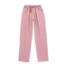Pajamas Pants Gauze Plaid-Style Bottoms Womens Plus-Size Casual And Four-Seasons Couple