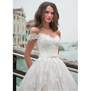 Image 3 - Fantastic Tulle A line Wedding Dresses Off The Shoulder Lace Appliques Princess Boho Wedding Gowns Lace Up Back Bridal Gown