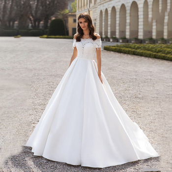 2020 Boho Wedding Dresses A Line Lace Appliques Bridal Gown Satin Elegant Dress Custom Made robe de mariee - discount item  47% OFF Wedding Dresses