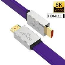 8K HDMI 2.1 multimedialny interfejs o wysokiej rozdzielczości kable HDCP2.2 ARC MOSHOU 1m 2m 3m 4m przewód wideo